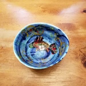 Intricate FolfArt glazed pottery bowl